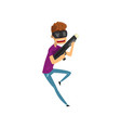 young man cartoon character playing video game in vector image vector image