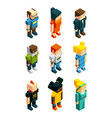 3d low poly peoples isometric user icons set vector image vector image