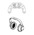 3d model of joystick and headphones on a white vector image