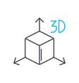3d model thin line stroke icon 3d model vector image vector image
