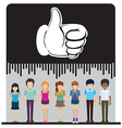 A group of faceless people with an approved sign vector image vector image