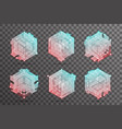 abstract isometric hexagon lines cubic elements vector image vector image