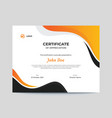abstract orange and black waves certificate design