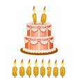 anniversary cake with candles vector image vector image