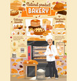 bakery bread and desserts baker shop vector image vector image