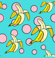 banana seamless pattern background with pop art vector image