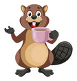 beaver with cup coffee on white background vector image vector image