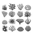 black aquatic corals set vector image