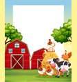 border template with animals in the farm vector image vector image