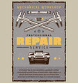 car repair service poster with mechanic toolbox vector image vector image