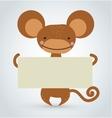 Cartoon monkey ape holding clean white banner vector image
