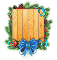 Christmas tree branches blue bow and ribbons vector image vector image