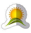 color sticker with abstract sun over green hill vector image vector image