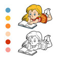 coloring book young girl reading a book vector image vector image