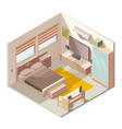 comfortable bedroom interior isometric vector image