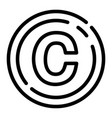 copyright sign icon outline style vector image