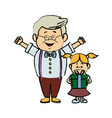 cute grandpa with granddaughter funny together vector image vector image