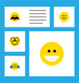 flat icon expression set of displeased grin cold vector image vector image