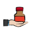 hand with bottle medicine equipment veterinary vector image vector image
