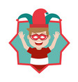 happy boy with jester hat and mask inside star vector image
