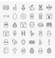 Happy Easter Line Icons Big Set vector image vector image