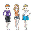 happy pretty young women standing wearing casual vector image vector image
