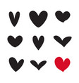 hearts valentine love icon set isolated vector image vector image
