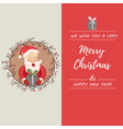 holiday card with funny santa claus and decorative vector image