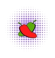 Hot chili peppers icon comics style vector image vector image
