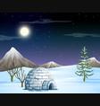 igloo in snow scene vector image