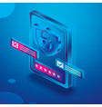 isometric tablet computer in blue colors device vector image