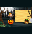 little witch wearing halloween costume sits on a p vector image vector image