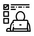 man working at laptop job hunting icon vector image vector image