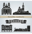 Marseilles landmarks and monuments vector image vector image