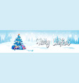 merry christmas background with winter forest vector image