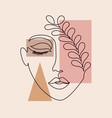 minimal woman face vector image