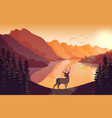 mountain landscape with deer in forest and sunset vector image
