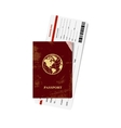 Passport and ticket vector image