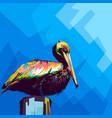 pelican wpap style pop art vector image vector image