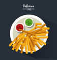 poster delicious food in black background with vector image vector image