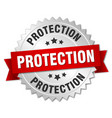 protection round isolated silver badge vector image vector image
