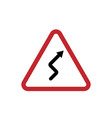 red triangle sign winding road isolated on vector image vector image