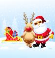Santa and Rain Deer with Christmas Gifts vector image vector image