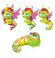 set fantasy cartoon seahorse isolated on a white vector image vector image