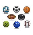 Set of cartoon sports balls equipment vector image vector image