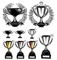 set sport templates with sports cups and vector image
