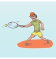 Tennis player striking a ball vector image vector image