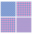 tile pattern set with pink print blue background vector image vector image