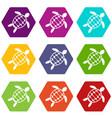 turtle icon set color hexahedron vector image vector image