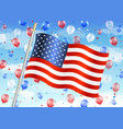 united states america flag with balloon on sky vector image vector image